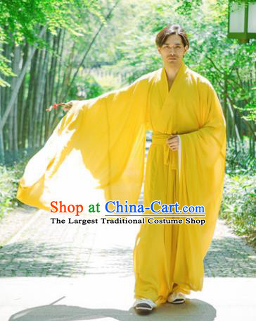 Chinese Ancient Traditional Jin Dynasty Yellow Straight-Front Robe Scholar Swordsman Costumes for Men