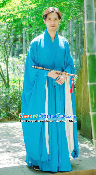 Chinese Ancient Traditional Jin Dynasty Blue Wide Sleeve Robe Scholar Swordsman Costumes for Men