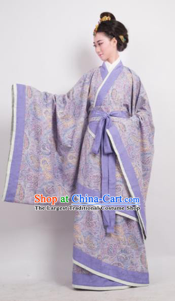 Traditional Chinese Han Dynasty Countess Purple Curving-Front Robe Ancient Palace Lady Costume for Women