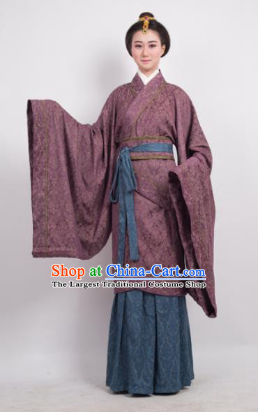 Traditional Chinese Han Dynasty Countess Amaranth Curving-Front Robe Ancient Palace Lady Costume for Women