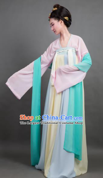 Traditional Chinese Tang Dynasty Maidenform Yellow Hanfu Dress Ancient Palace Princess Costume for Women