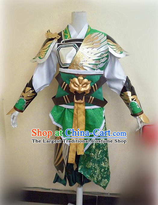 Asian Chinese Cosplay Military Officers Green Customized Costume Ancient Swordsman Clothing for Men