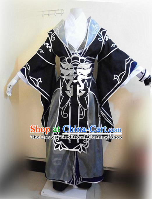Asian Chinese Cosplay Royal Highness Black Customized Costume Ancient Swordsman Clothing for Men