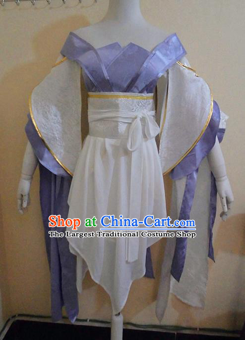 Asian Chinese Cosplay Female Swordsman Purple Costume Ancient Young Lady Clothing for Women