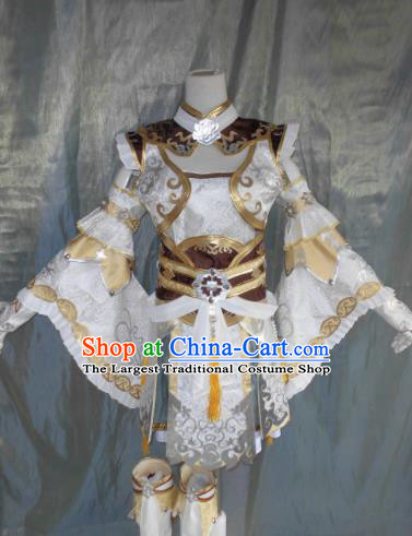 Asian Chinese Cosplay Female Knight White Costume Ancient Swordsman Clothing for Women