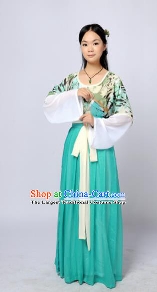 Traditional Chinese Tang Dynasty Maidenform Green Costume Ancient Young Lady Clothing for Women