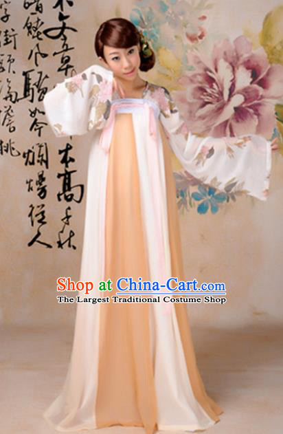 Traditional Chinese Tang Dynasty Palace Dance Costume Ancient Princess Orange Hanfu Dress for Women
