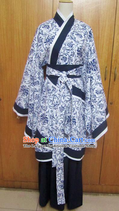 Traditional Chinese Han Dynasty Dance Blue Curving-Front Robe Ancient Princess Costume for Women