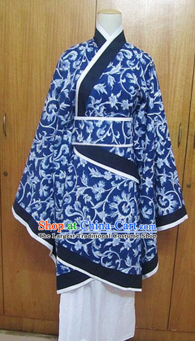 Traditional Chinese Han Dynasty Princess Navy Hanfu Dress Ancient Fairy Costume for Women