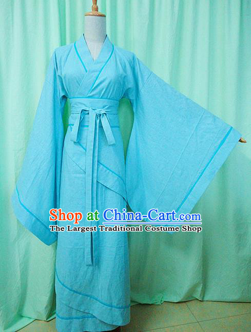 Traditional Chinese Han Dynasty Imperial Consort Blue Hanfu Dress Ancient Princess Costume for Women