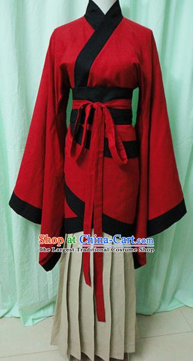 Traditional Chinese Han Dynasty Red Curving-Front Robe Ancient Princess Fairy Costume for Women