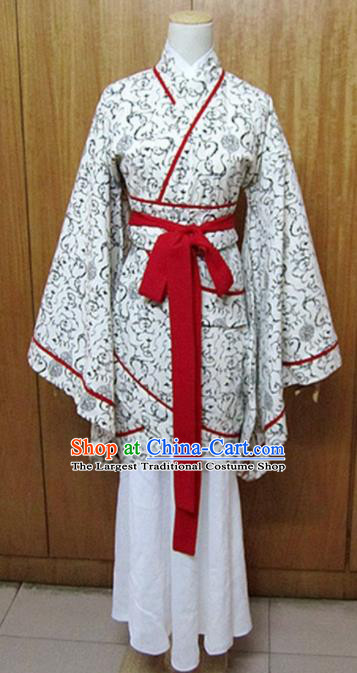 Traditional Chinese Han Dynasty Maidenform Curving-Front Robe Ancient Princess Fairy Costume for Women