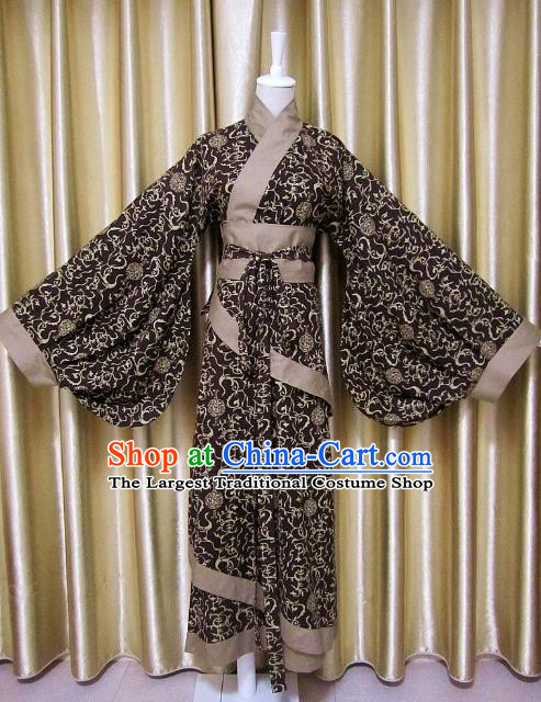Traditional Chinese Han Dynasty Maidenform Brown Curving-Front Robe Ancient Costume for Women
