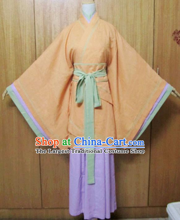 Traditional Chinese Han Dynasty Maidenform Orange Curving-Front Robe Ancient Princess Costume for Women