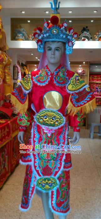 Traditional Chinese Beijing Opera Takefu Costume General Embroidered Red Clothing and Hat for Men