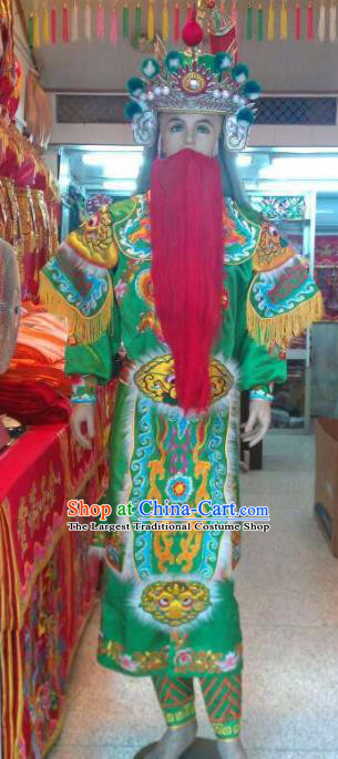 Traditional Chinese Beijing Opera Takefu Costume General Embroidered Green Clothing and Hat for Men