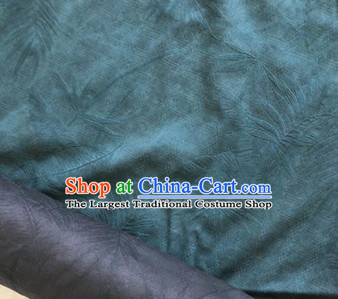 Asian Chinese Traditional Fabric Classical Feather Pattern Green Brocade Cheongsam Cloth Silk Fabric