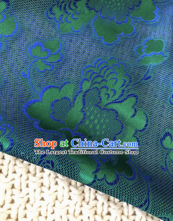 Asian Chinese Traditional Fabric Classical Pattern Green Brocade Cheongsam Cloth Silk Fabric