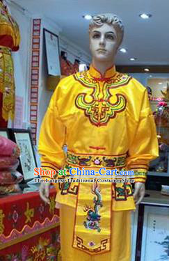 Traditional Chinese Beijing Opera Swordsman Costume Takefu Embroidered Yellow Clothing for Adults