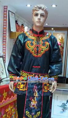 Traditional Chinese Beijing Opera Swordsman Atrovirens Costume Takefu Embroidered Clothing for Adults