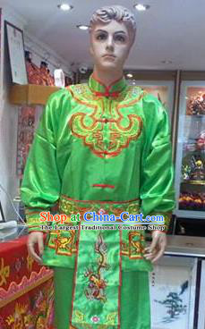Traditional Chinese Beijing Opera Swordsman Green Costume Takefu Embroidered Clothing for Adults