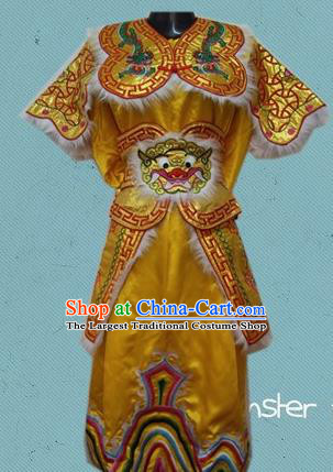 Traditional Chinese Beijing Opera General Yellow Costume Takefu Embroidered Clothing for Kids