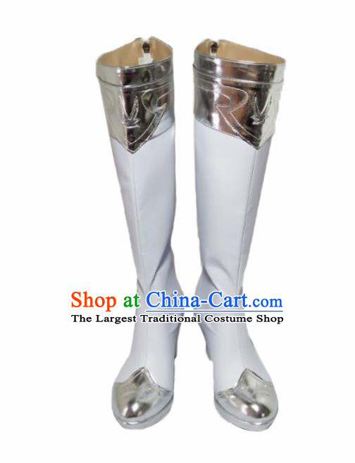 Asian Chinese Cosplay Shoes Cartoon Fairy White Boots for Women