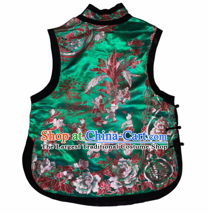 Traditional Chinese Handmade Embroidered Costume Tang Suit Slant Opening Green Vest for Women