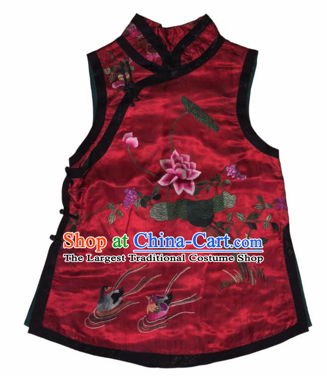 Traditional Chinese Handmade Embroidered Mandarin Duck Lotus Costume Tang Suit Slant Opening Vest for Women