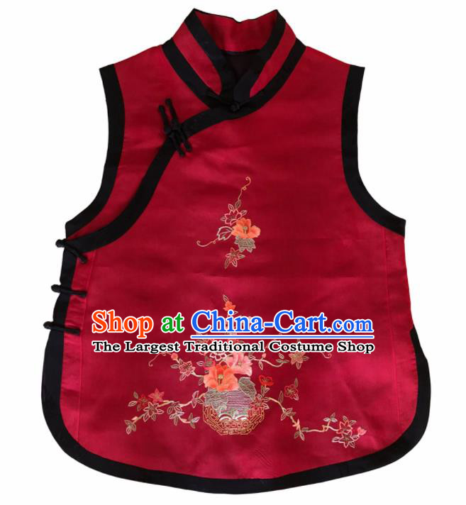 Traditional Chinese Handmade Embroidered Flowers Costume Tang Suit Slant Opening Vest for Women
