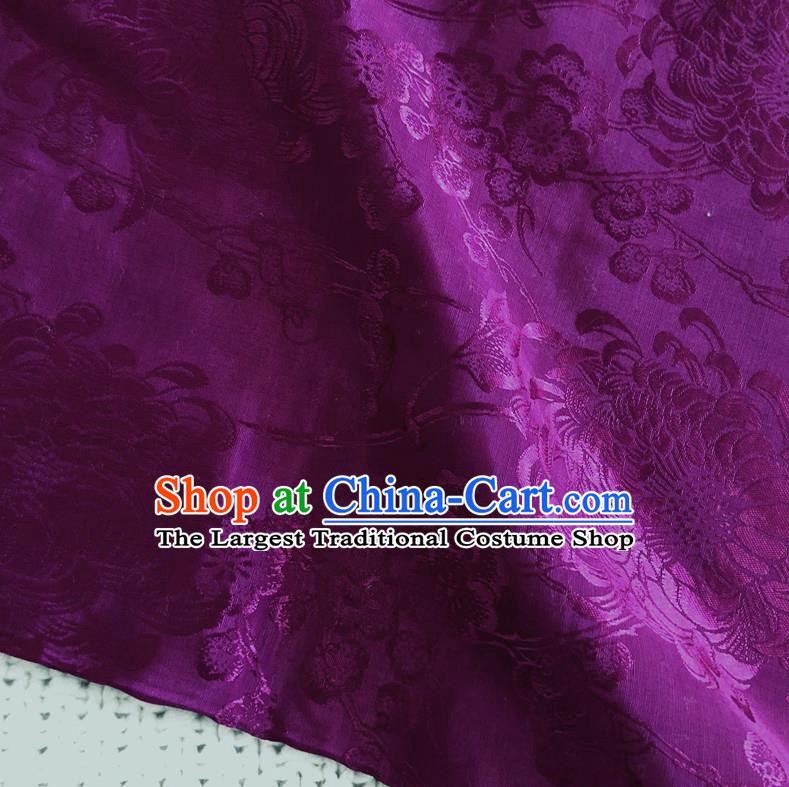 Asian Chinese Traditional Fabric Palace Chrysanthemum Pattern Purple Brocade Cloth Silk Fabric
