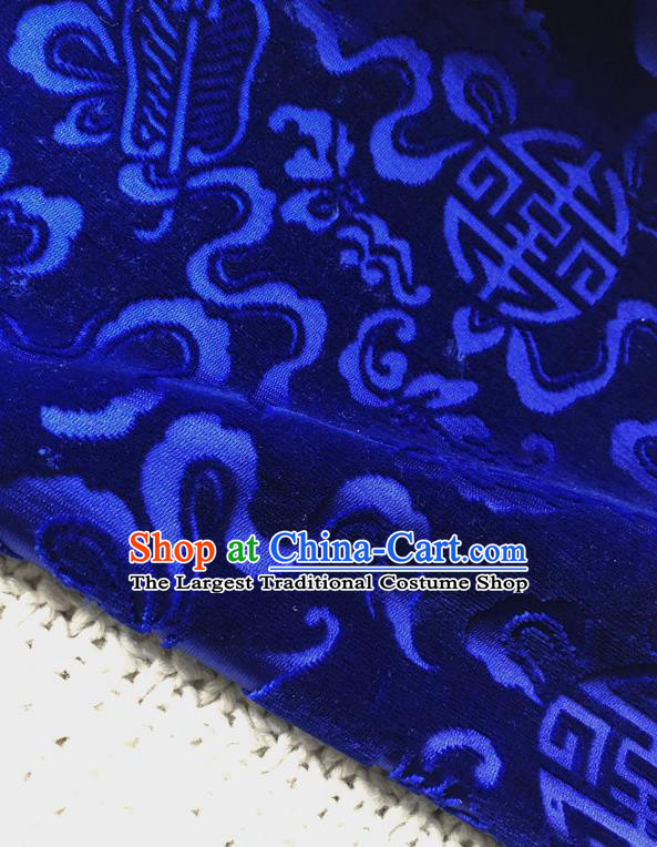 Asian Chinese Traditional Silk Fabric Classical Pattern Royalblue Brocade Cheongsam Cloth Silk Fabric