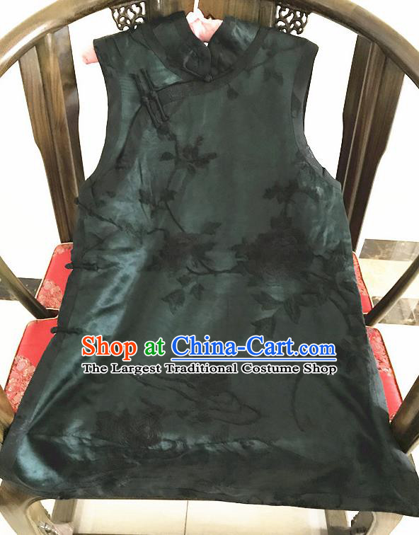 Traditional Chinese Handmade Costume Tang Suit Embroidered Peony Cheongsam Vest for Women