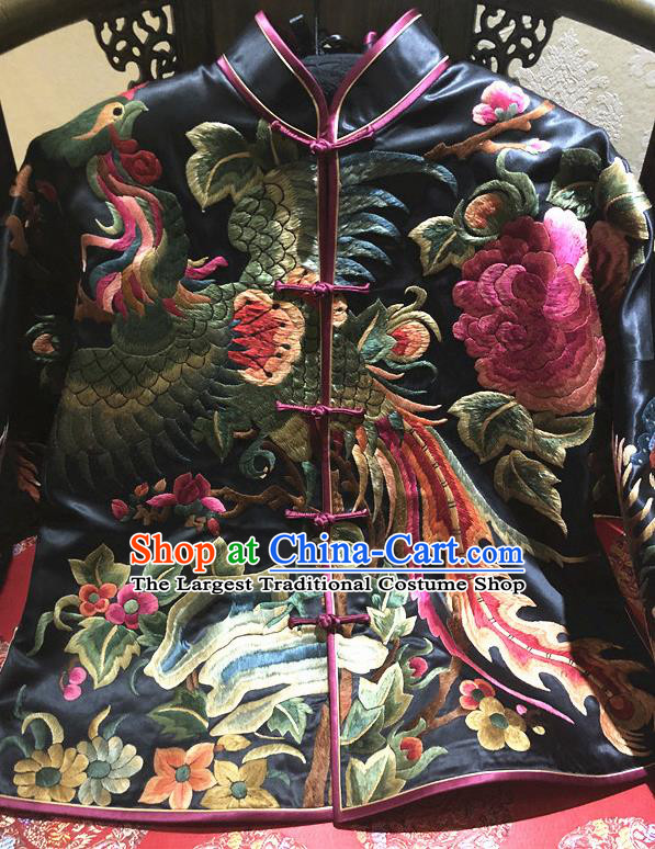 Traditional Chinese Handmade Costume Tang Suit Embroidered Phoenix Peony Blouse for Women