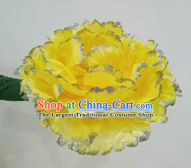 Traditional Chinese Folk Dance Accessories Opening Dance Yellow Peony Flower for Women