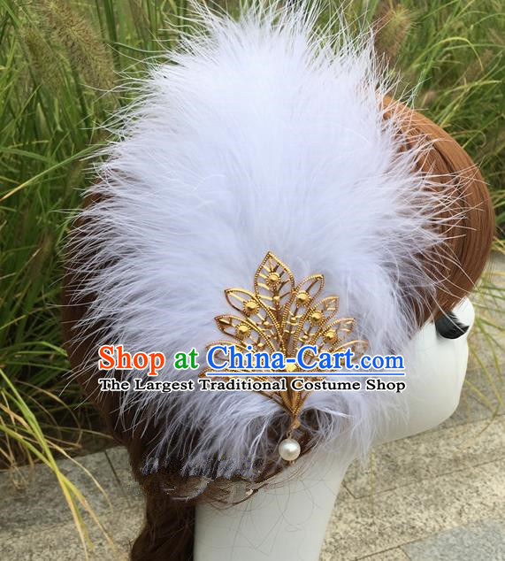 Traditional Chinese Bride Hair Accessories Folk Dance White Feather Hair Stick for Kids