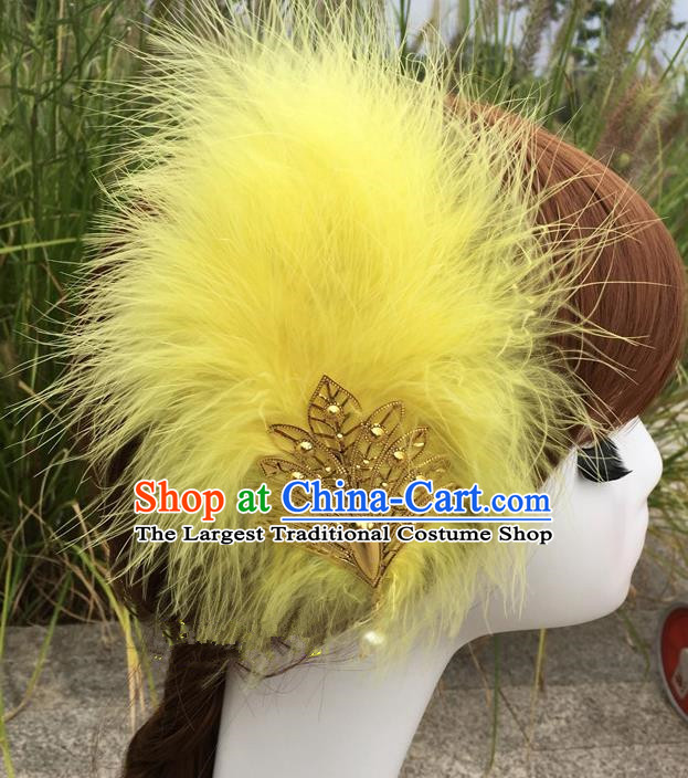 Traditional Chinese Bride Hair Accessories Folk Dance Yellow Feather Hair Stick for Kids