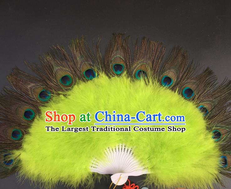 Traditional Chinese Crafts Peacock Feather Folding Fan China Folk Dance Green Feather Fans