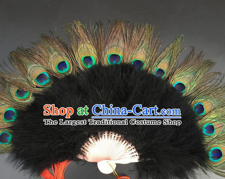Traditional Chinese Crafts Peacock Feather Folding Fan China Folk Dance Black Feather Fans