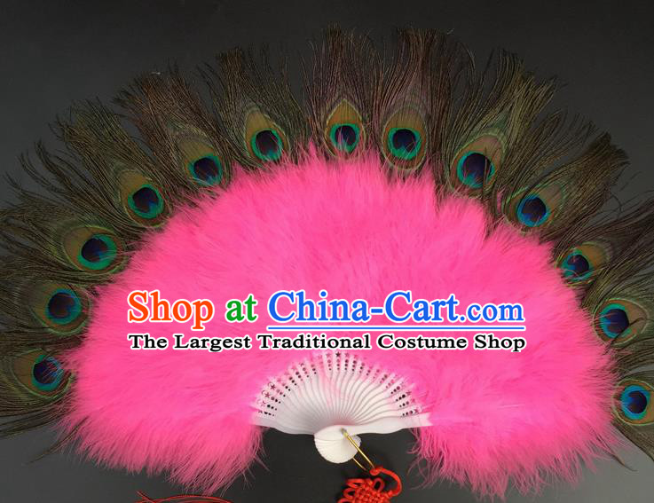 Traditional Chinese Crafts Peacock Feather Folding Fan China Folk Dance Pink Feather Fans