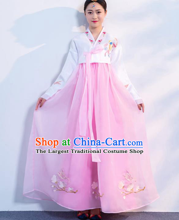 Top Grade Korean Traditional Costumes Asian Korean Hanbok Bride White Blouse and Pink Skirt for Women