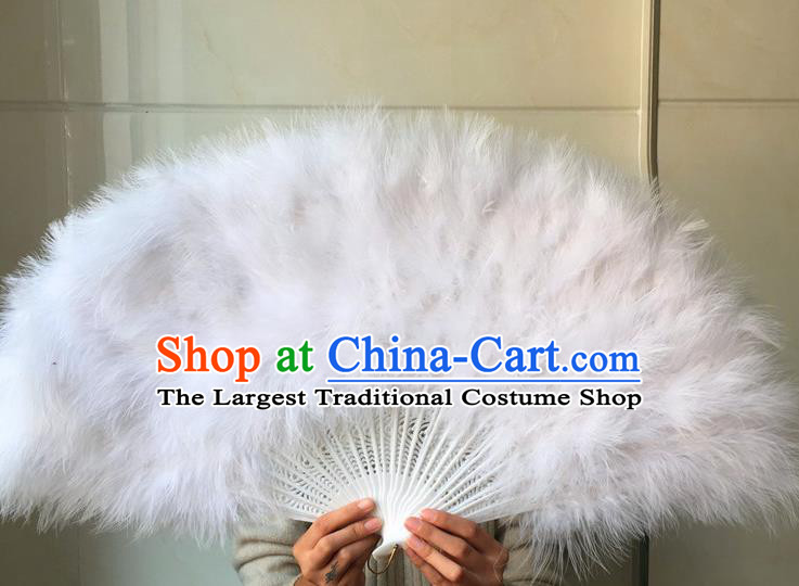 Traditional Chinese Crafts Folding Fan China Folk Dance White Feather Fans