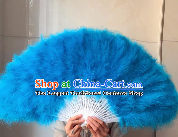 Traditional Chinese Crafts Folding Fan China Folk Dance Blue Feather Fans
