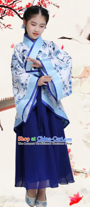 Chinese Han Dynasty Princess Costume Ancient Young Lady Hanfu Clothing for Kids