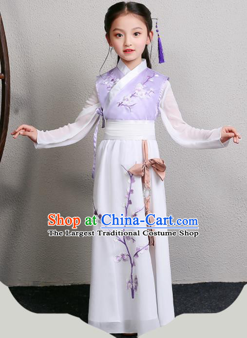 Chinese Ming Dynasty Princess Costume Ancient Swordsman Hanfu Clothing for Kids