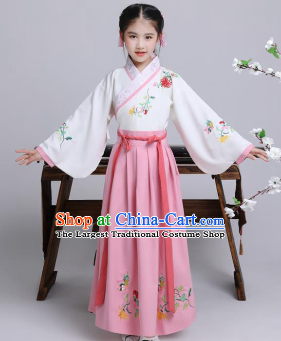Chinese Ming Dynasty Princess Costume Ancient Peri Pink Hanfu Clothing for Kids