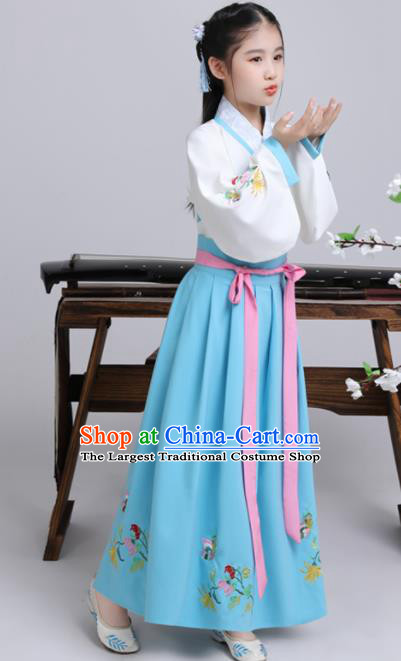 Chinese Ming Dynasty Princess Costume Ancient Peri Blue Hanfu Clothing for Kids