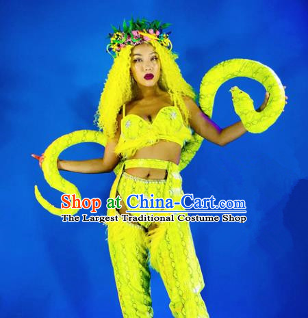 Professional Stage Performance Costume Halloween Cosplay Python Clothing and Headwear for Women