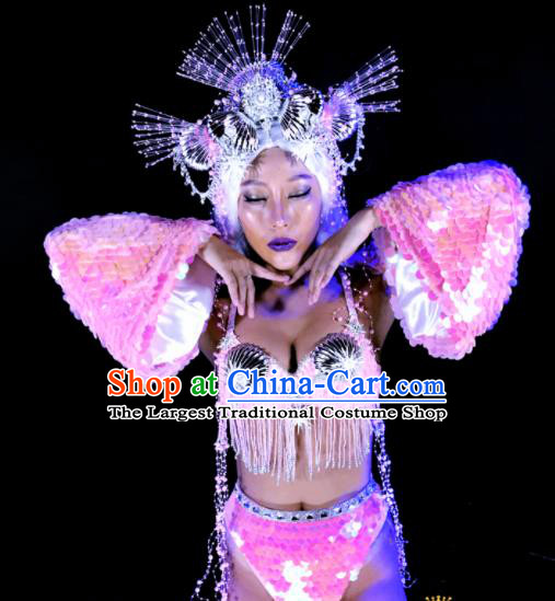 Professional Stage Performance Costume Halloween Cosplay Mermaid Pink Clothing and Headwear for Women