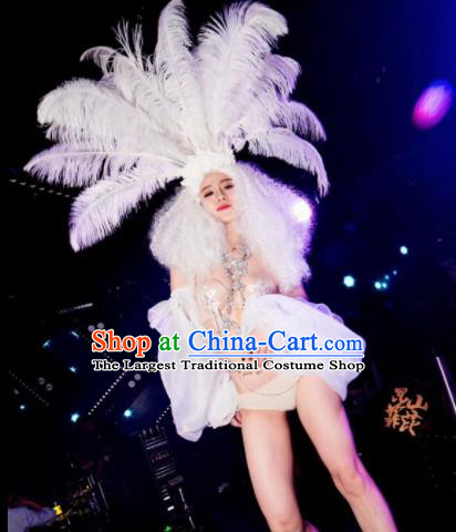 Professional Stage Performance Costume Halloween Cosplay Mermaid White Clothing and Feather Headwear for Women